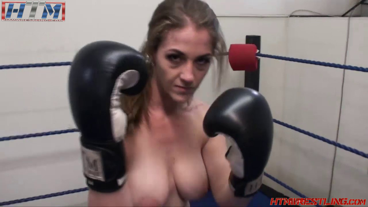 Girl topless boxing